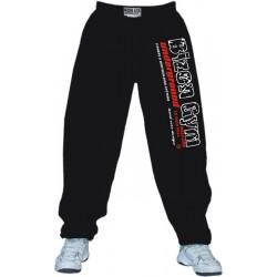 černé fitness tepláky Bizon Gym s bíločerveným nápisem (bartos)