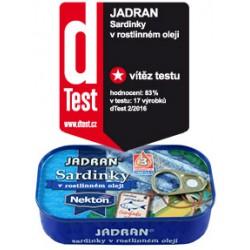 Sardinky v rostlinném oleji - Vítěz testu kvality v magazínu dTest 2/2016 Jadran