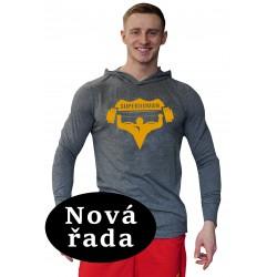 Tričko s kapucí Super Human - ŠEDÁ/ORANŽOVÁ