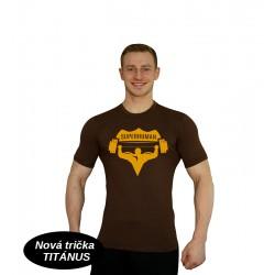 Tričko Super Human - HNĚDÁ/ŽLUTÁ