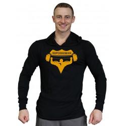 Tričko s kapucí Super Human - ČERNÁ/ŽLUTÁ