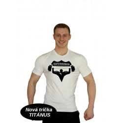 Tričko Super Human - elastické - BÍLÁ/ČERNÁ