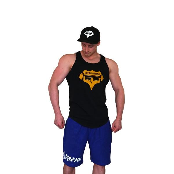 Šortky Superhuman vroubkované - nápis vodorovný - modrá/bílá