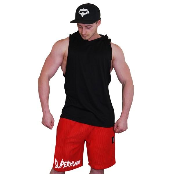 Šortky Superhuman vroubkované - nápis vodorovný - červená/bílá