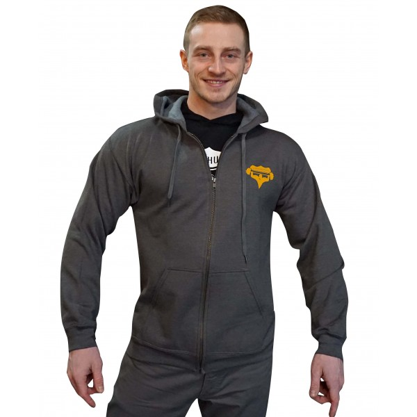 Mikina na zip s kapucí Superhuman - šedá/žlutá