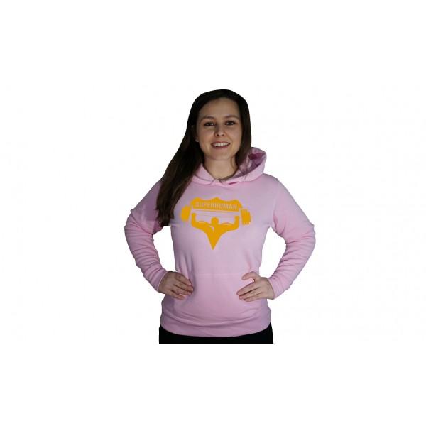 Mikina s kapucí Superhuman - růžová/žlutá