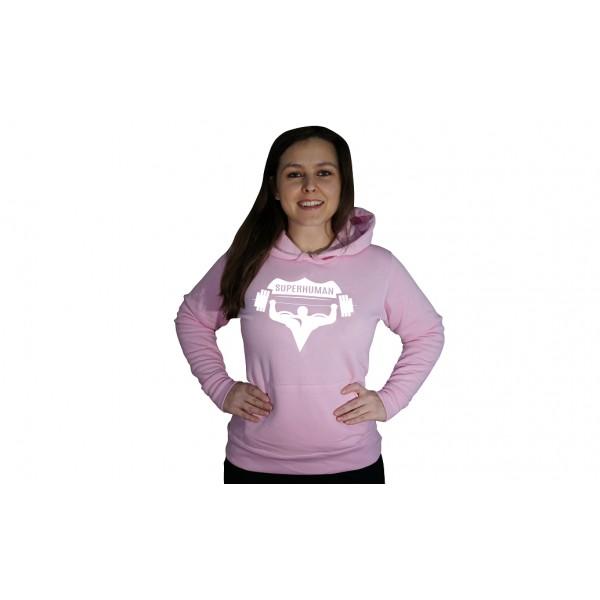 Mikina s kapucí Superhuman - růžová/bílá