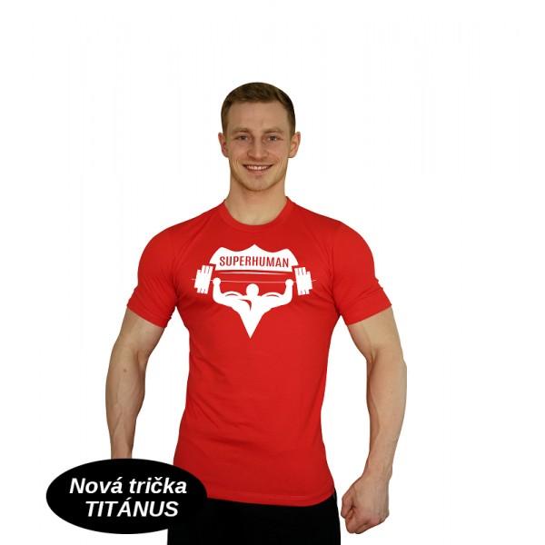 Elastické tričko Superhuman - červená/bílá
