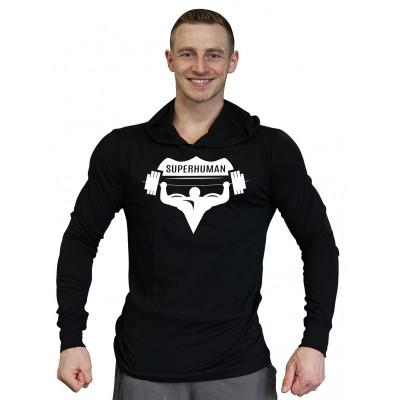 Tričko s kapucí Super Human - ČERNÁ/BÍLÁ