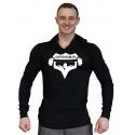 Tričko s kapucí velký Superhuman -  černá/bílá