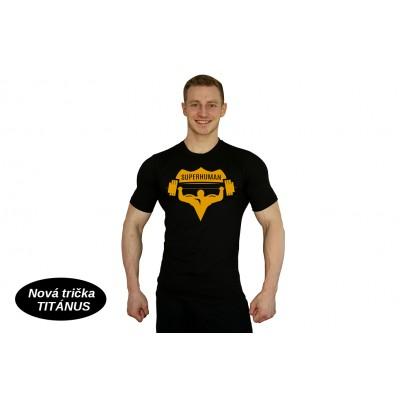 Tričko Superhuman velké logo - černá/žlutá