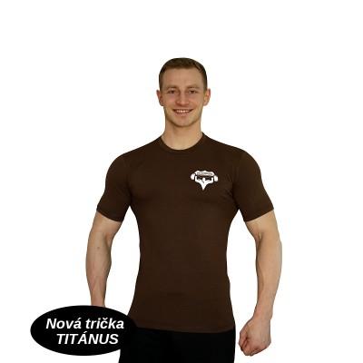 Tričko Super Human - hnědá/bílá
