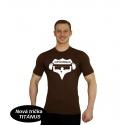 Tričko Superhuman velké logo - hnědá/bílá
