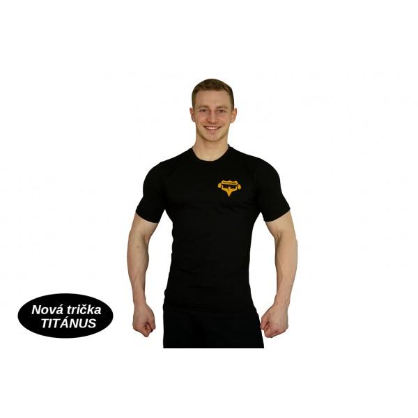 Tričko Superhuman malé logo - černá/žlutá