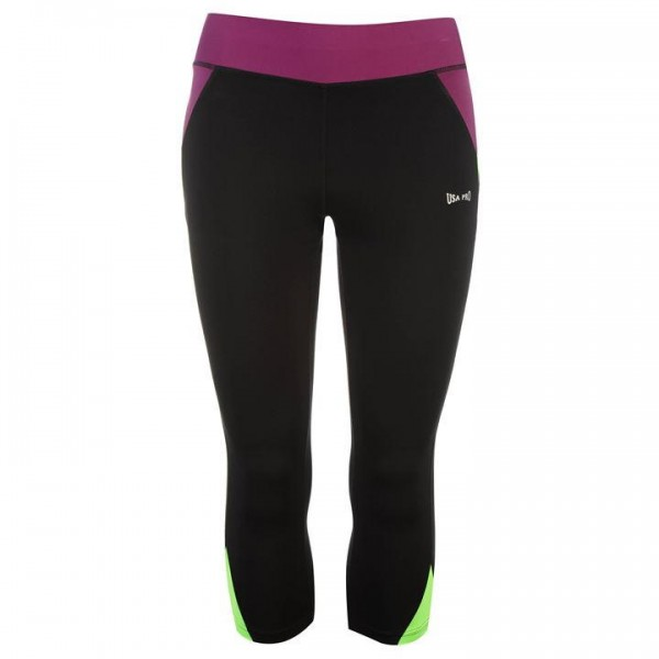 USA Pro three quarter leggings Black/Purp/Grn