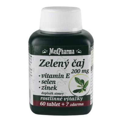 MedPharma Zelený čaj 200 mg + vitamin E + selen + zinek, 67 tobolek.