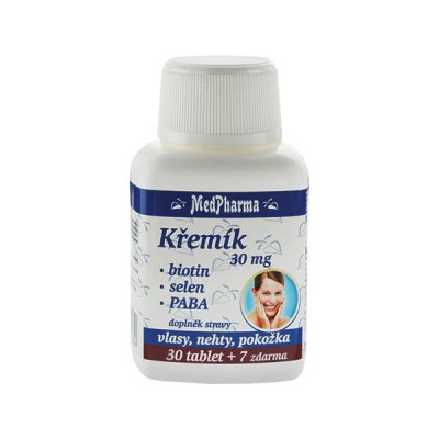 MedPharma Křemík 30 mg + biotin + selen + PABA, 37 tobolek.