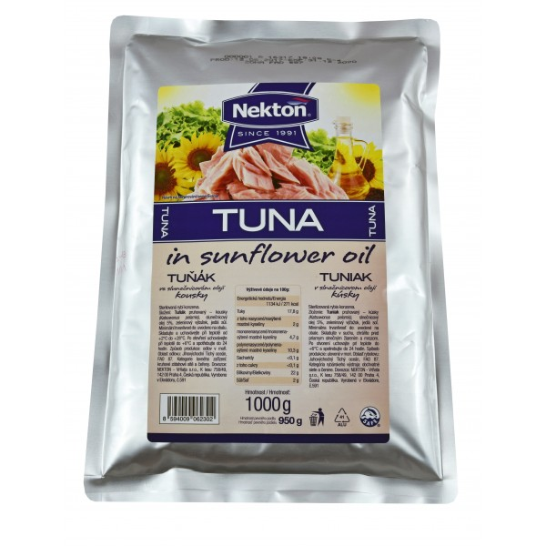 NEKTON Tuňák ve slunečnicovém oleji - kousky 1000 g