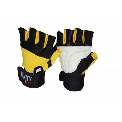 Fitness Rukavice Trinity s omotávkou černá/žlutá/bílá
