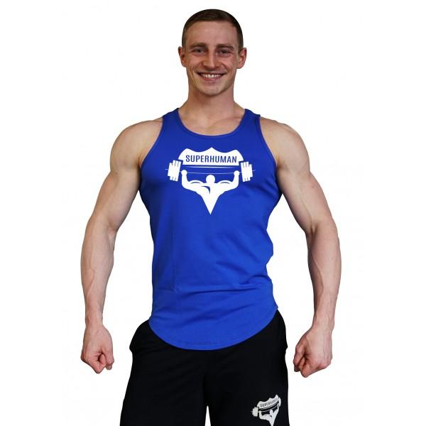 Tílko Superhuman velké logo - oblé/modré