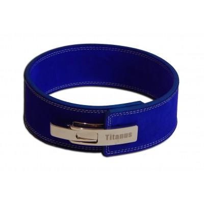 Fitness Opasek s gravírovanou pákovou přezkou (modrá) - TITANUS