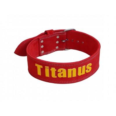 Opasek Powerlifting jednoduchá přezka (červená) - TITANUS