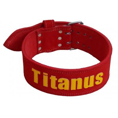 Opasek Powerlifting dvojitá přezka (červená) - TITANUS
