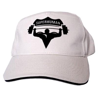 Čepice s kšiltem Superhuman - béžová/černá