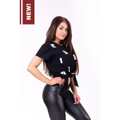 NEBBIA - Tričko Tied knot Letters 680 černá