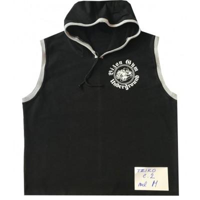 Triko s kapucí bez rukávů černé velikost M