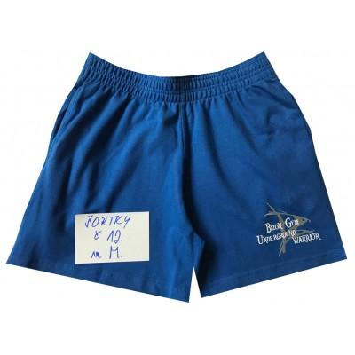 Modré šortky s malým nápisem Bizon Gym velikost M