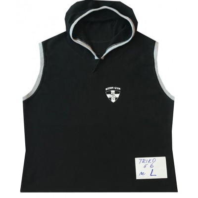 Triko černé s kapucí bez rukávů L