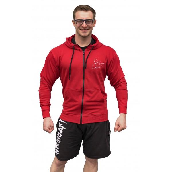 Mikina na zip s kapucí nápis Superhuman - červená/bílá