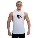 Tílko s kapucí Superhuman velké logo - IRON IN HEART - bílá