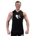Tílko s kapucí Superhuman velké logo - IRON IN HEART - černá