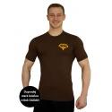 Tričko Superhuman - hnědá/žlutá XXL
