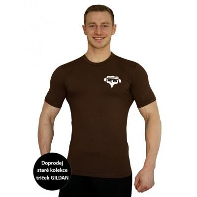 Tričko Superhuman - hnědá/bílá XL