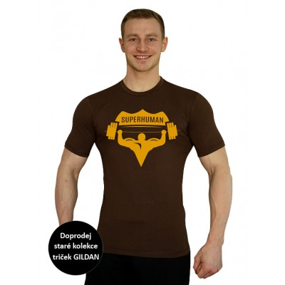 Pánské hnědé tričko Superhuman - hnědá/žlutá XXL