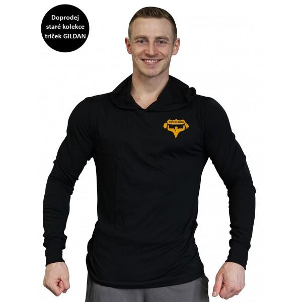 Pánské černé tričko s kapucí Superhuman - černá/žlutá XS