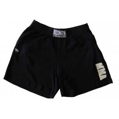 Černé šortky s šedožlutým motivem MMA