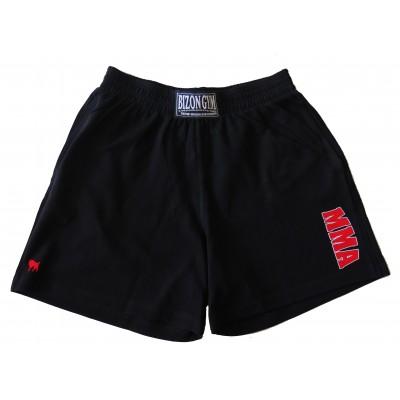 Černé šortky s červenobílým motivem MMA  velikost XXL