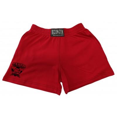 Červené šortky s malým logem na nohavici velikost XL