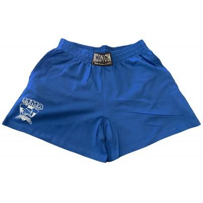 Modré šortky s malým logem na nohavici velikost L