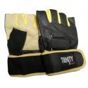 Fitness Rukavice Trinity s omotávkou - žlutá/černá