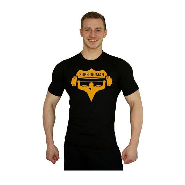 Elastické tričko Superhuman velké logo - černá/žlutá