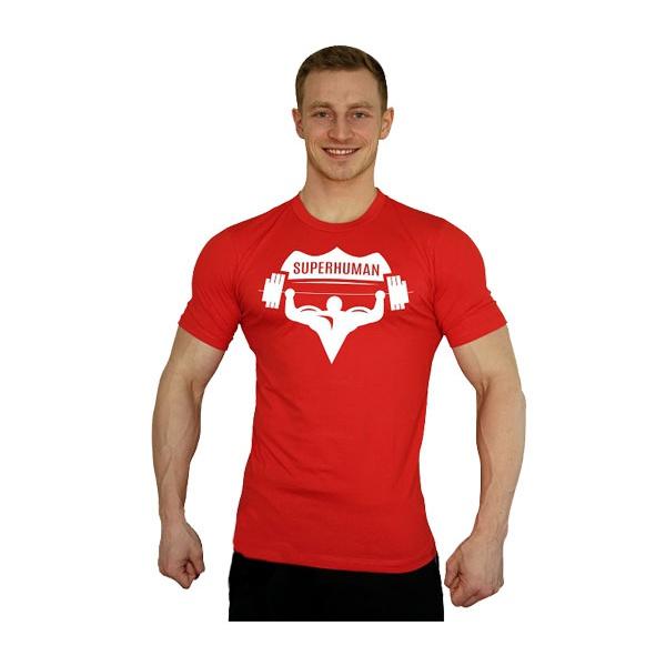 Tričko Superhuman velké logo - červená/bílá