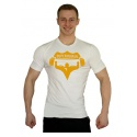 Elastické tričko Superhuman velké logo - bílá/žlutá