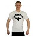 Elastické tričko Superhuman velké logo - bílá/černá