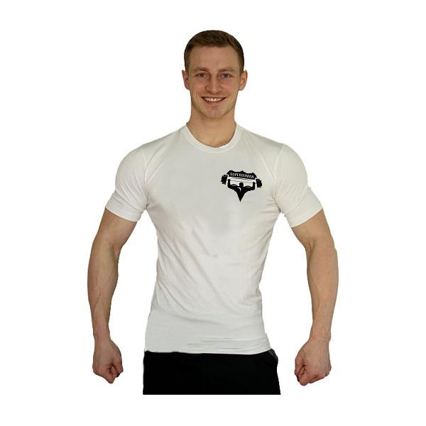 Elastické tričko Superhuman malé logo - bílá/černá