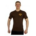 Tričko Superhuman malé logo - hnědá/žlutá